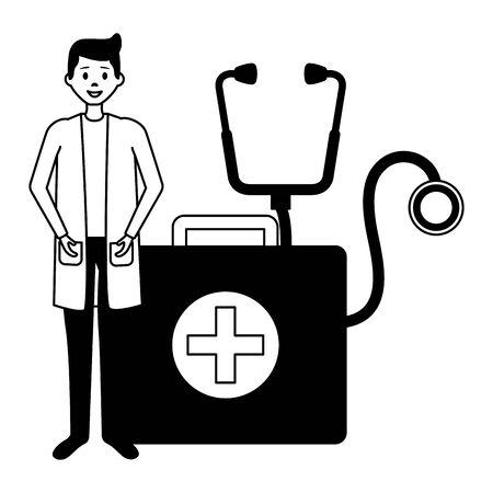 doctor man suitcase stethoscope medical vector illustration 일러스트