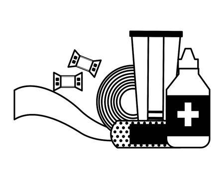health medicine equipment dropper tube bandage and plaster vector illustration 版權商用圖片 - 129114790