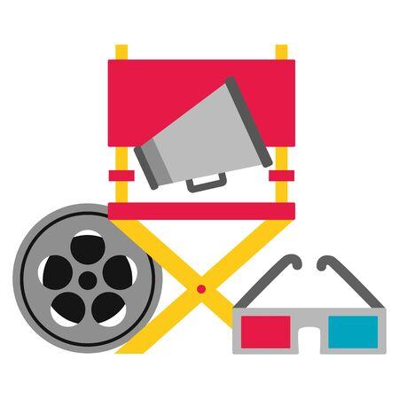 chair director 3d glasses reel film cinema movie vector illustration Ilustração