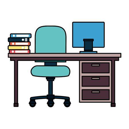 office desk books chair drawers laptop vector illustration 向量圖像