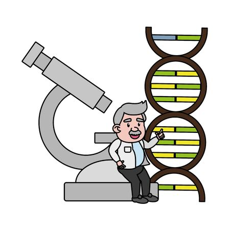 professor science microscope dna molecule vector illustration Çizim