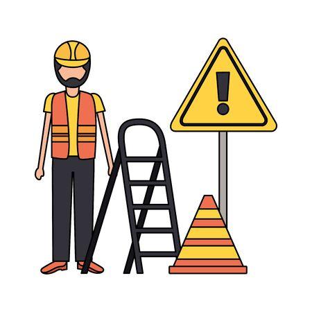 workers construction bricks stairs sign vector illustration Stock Illustratie