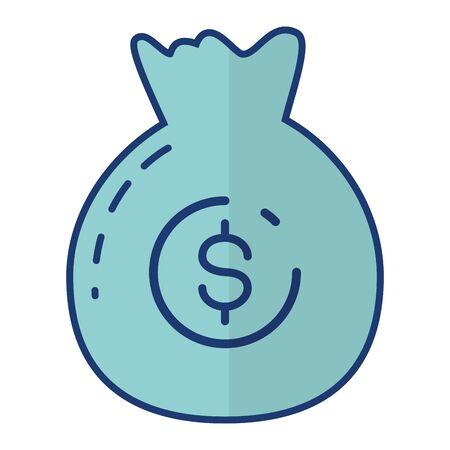 money bag saving on white background vector illustration