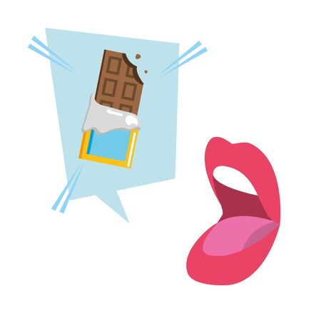 open mouth chocolate bar speech bubble pop art vector illustration Banque d'images - 129117717
