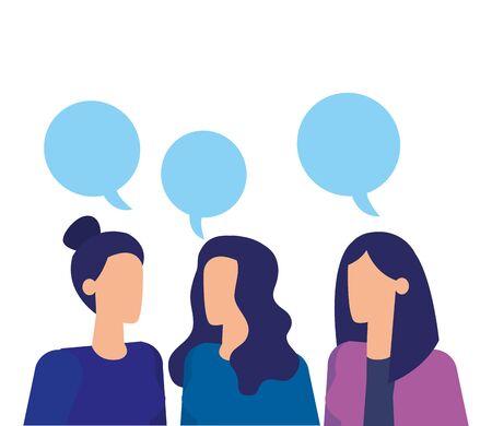 businesswomen workers speaking with speech bubbles vector illustration design Banque d'images - 129116739
