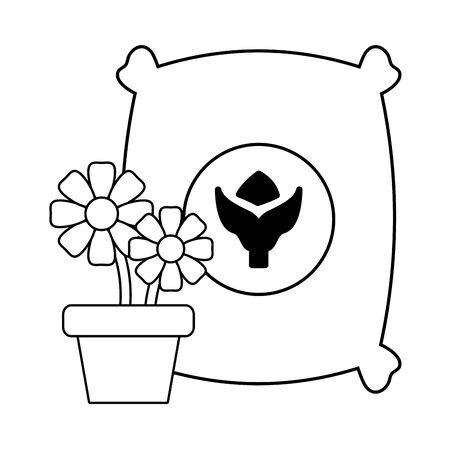 gardening sack soil and flowers vector illustration Ilustração