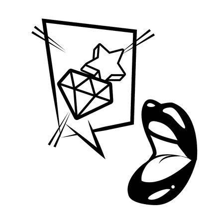 open mouth star diamond speech bubble pop art vector illustration  イラスト・ベクター素材