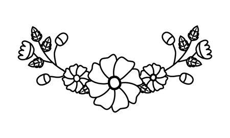 flowers leaves decoration on white background vector illustration Çizim