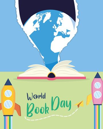 textbook rocket earth lettering - world book day vector illustration
