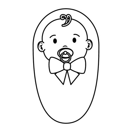 cute little baby boy with pacifier character vector illustration design Çizim