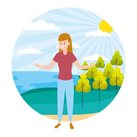 woman adult character outdoors vector illustration design Иллюстрация