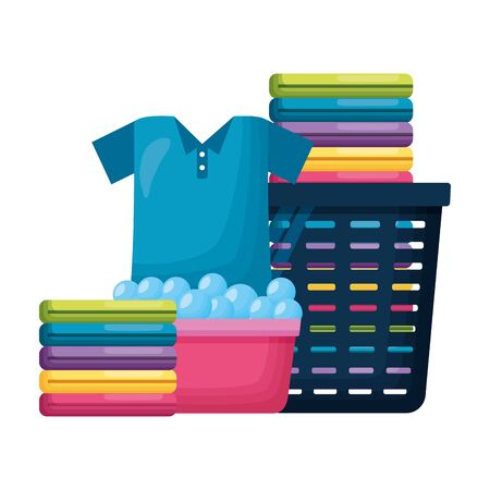 laundry basket bucket spring cleaning tools vector illustration