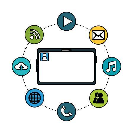 Social media and multimedia icon set, Apps communication digital marketing and internet theme Vector illustration Stock Vector - 129321651