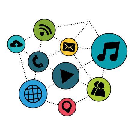 Social media and multimedia icon set, Apps communication digital marketing and internet theme Vector illustration Stock Vector - 129125708