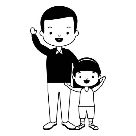 dad and daughter - fathers day vector illustration design