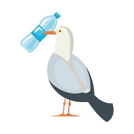 seagull with plastic bottle vector illustration design