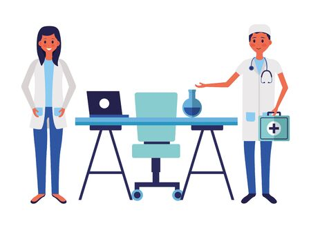 medical man and woman office desk laptop test tube suitcase vector illustration