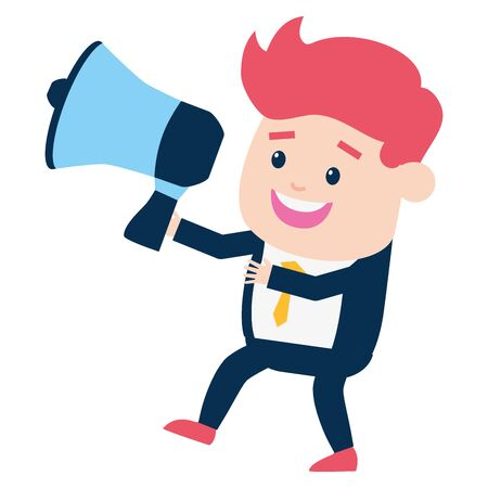 businessman with megaphone on white background vector illustration Stock Illustratie