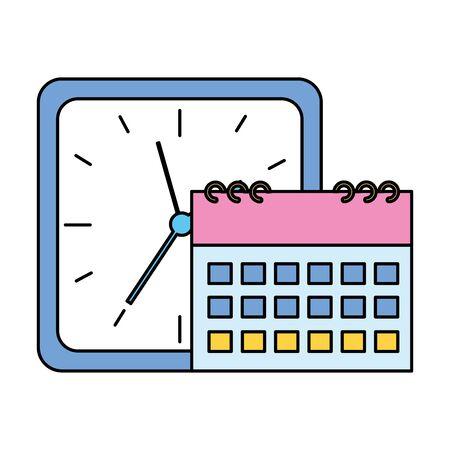 square clock time calendar on white background vector illustration vector illustration