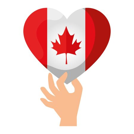 hand lifting canadian flag with heart shape vector illustration design 版權商用圖片 - 129142535