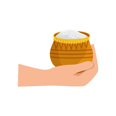 hand with food traditional ramadan kareem vector illustration design Ilustração