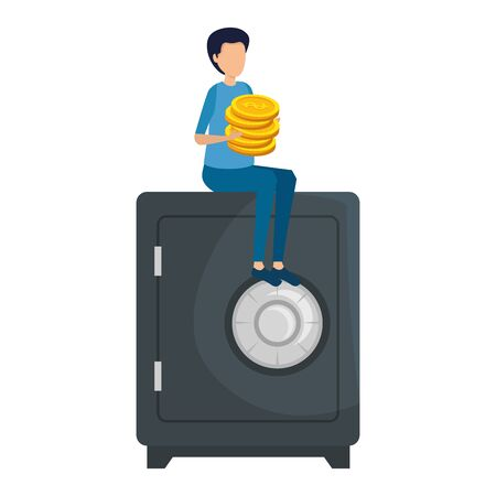 young man with coins seated in safe box vector illustration design