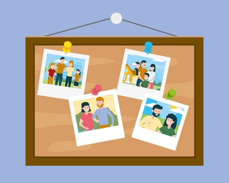board with photos family day vector illustration design