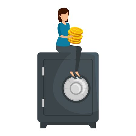young woman with coins seated in safe box vector illustration design Stock Illustratie