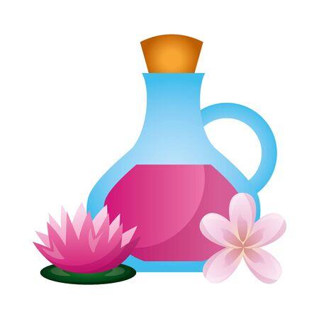 oil bottle flowers lotus spa therapy vector illustration Archivio Fotografico - 129160050