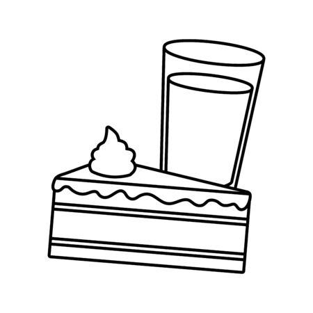 cake and milk fast food white background vector illustration Ilustrace