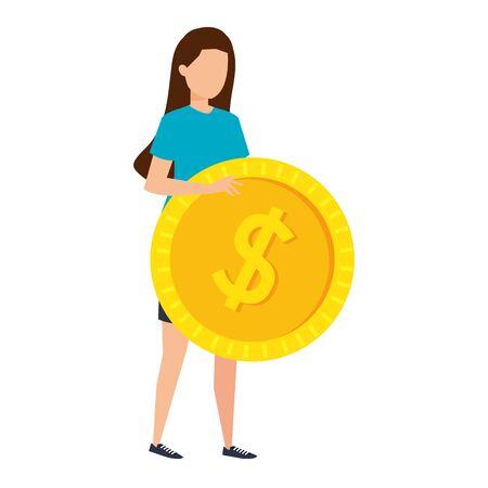 young woman lifting coin money dollar vector illustration design Stock Illustratie
