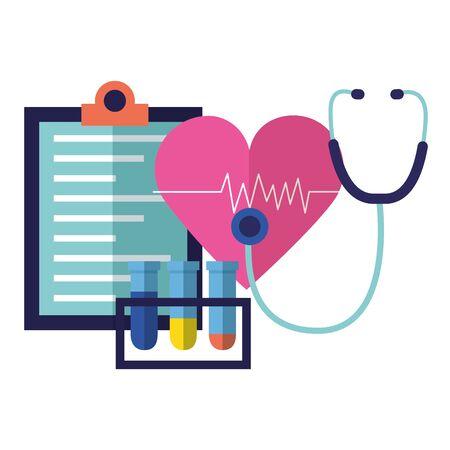 medical heart stethoscope flasks clipboard vector illustration Banco de Imagens - 129160236