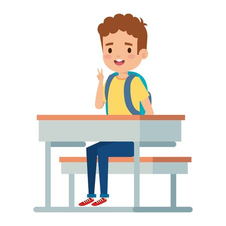 happy little student boy seated in school desk vector illustration design Foto de archivo - 129161611