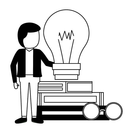 man books stacked bulb and eyeglasses vector illustration