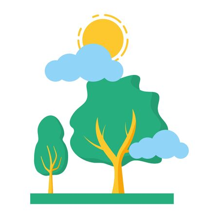 trees nature sky clouds sun vector illustration