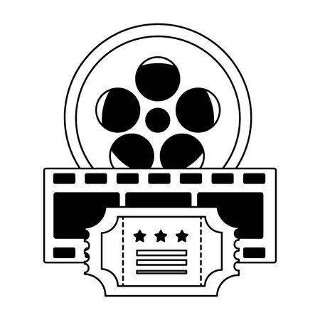 reel film ticket and strip cinema movie vector illustration