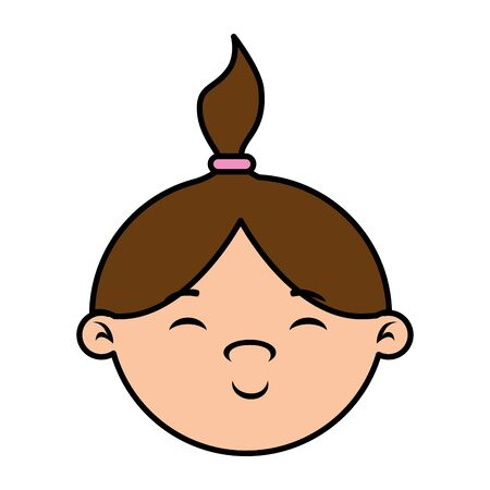 cute little girl baby head character vector illustration design Foto de archivo - 129165991