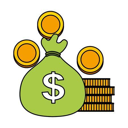 money bag coins dollar cash vector illustration