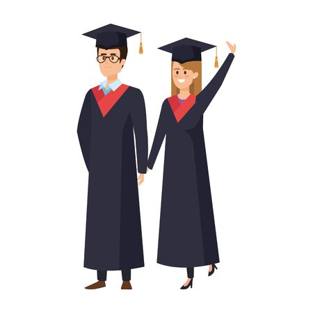 young couple students graduated celebrating vector illustration design 向量圖像