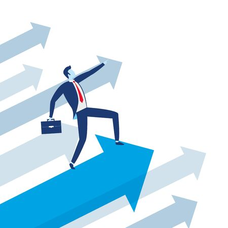 businessman with briefcase arrow growth business success vector illustration Ilustração