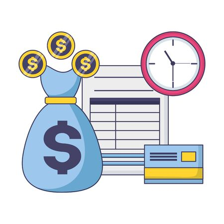 tax payment document money bag bank card clock vector illustration