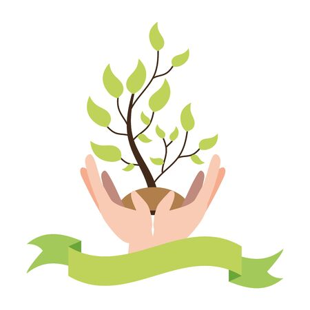 hands with plant earth day card vector illustration