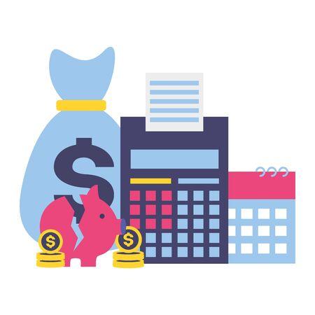 money bag piggy calculator calendar tax time payment vector illustration Foto de archivo - 129175840