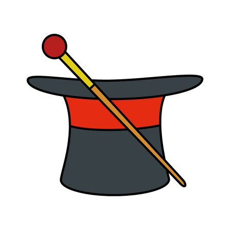 circus wizard hat with wand vector illustration design