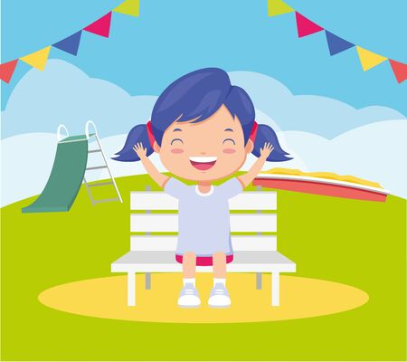 girl sitting bench park slide and sandbox - kids zone vector illustration Illustration