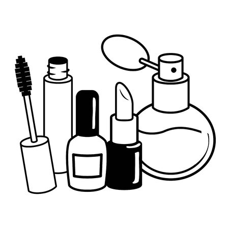 makeup female things pop art elements vector illustration 向量圖像