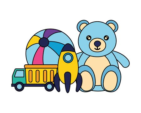 bear ball rocket and truck baby toys vector illustration Zdjęcie Seryjne - 129155205