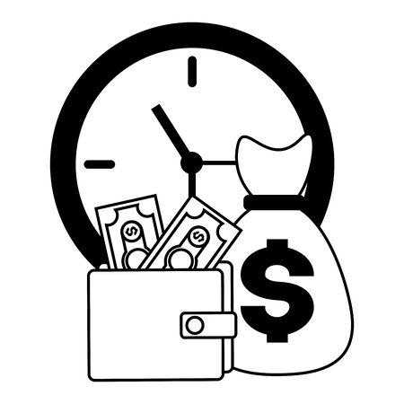 clock money bag wallet tax time payment vector illustration