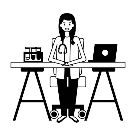 medical doctor in the office with laptop and test tubes vector illustration vector illustration