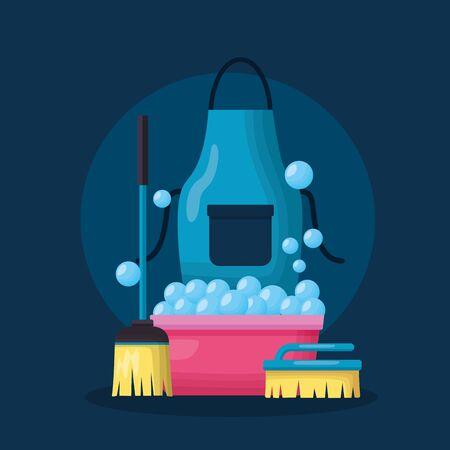 washing bucket apron broom brush spring cleaning tools vector illustration